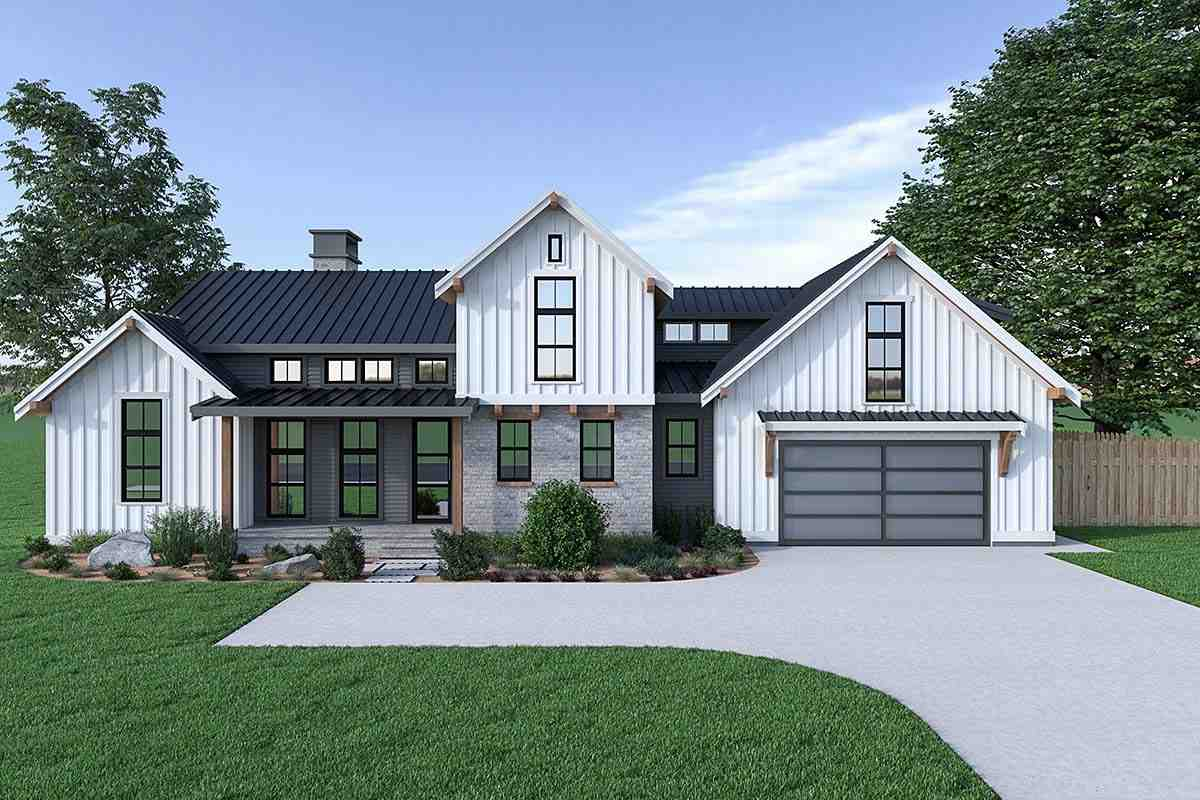 Contemporary, Country, Farmhouse House Plan 40908 with 3 Beds, 3 Baths, 2 Car Garage Elevation