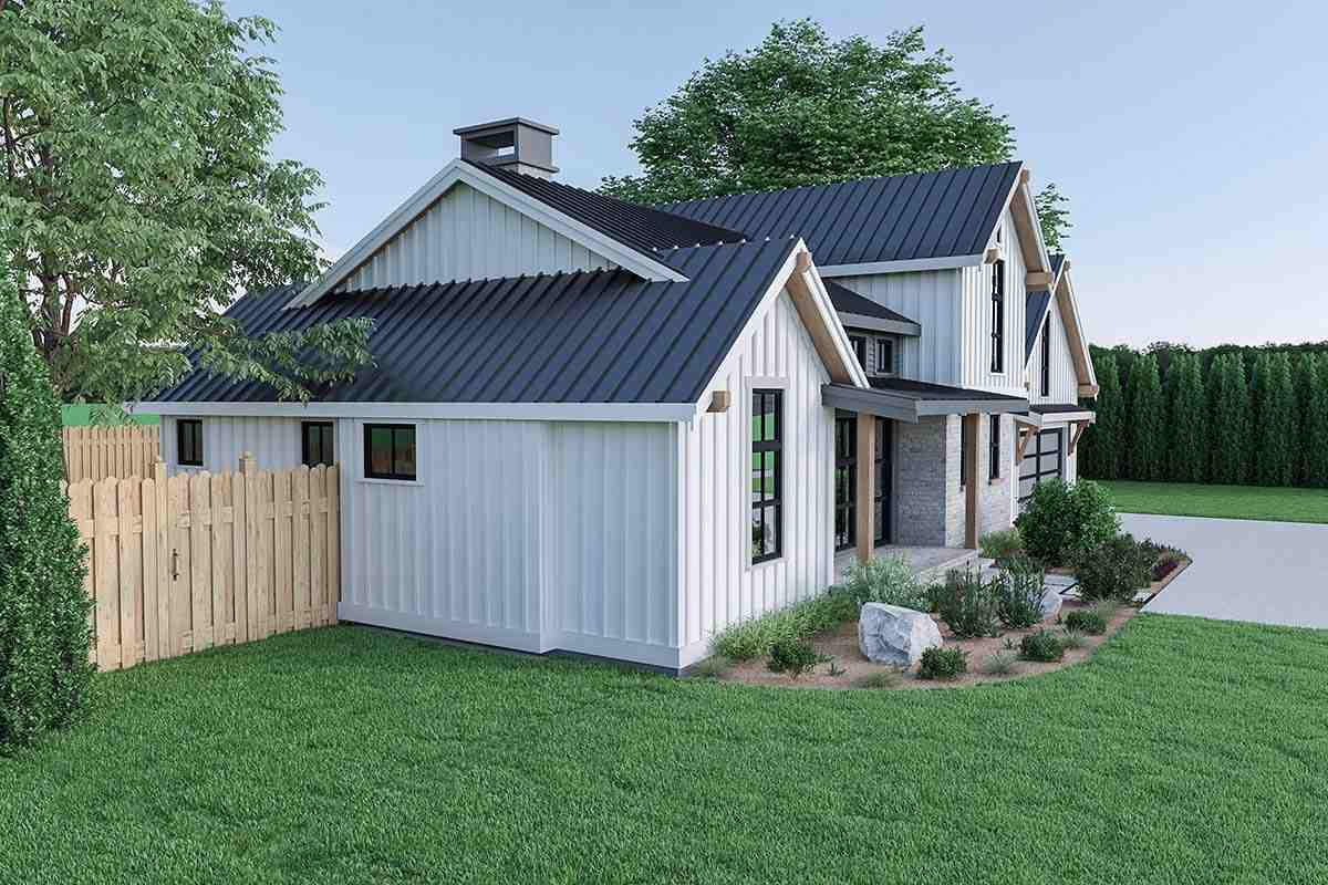 Contemporary, Country, Farmhouse House Plan 40908 with 3 Beds, 3 Baths, 2 Car Garage Picture 2