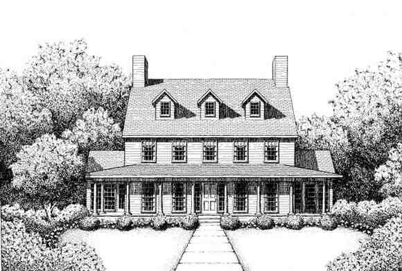 Colonial, Southern House Plan 41020 with 3 Beds, 3 Baths Elevation