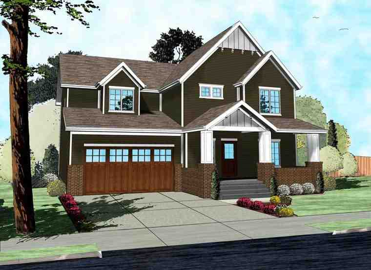 Craftsman, Traditional House Plan 41103 with 4 Beds, 3 Baths, 2 Car Garage Elevation