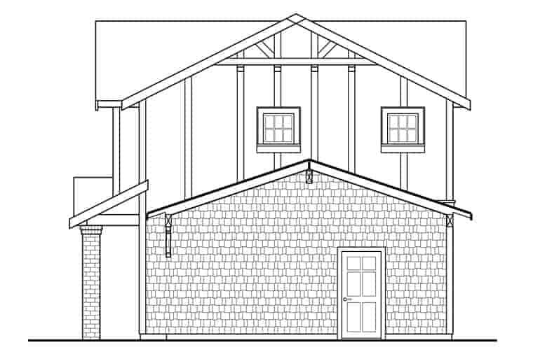 Traditional, Tudor 2 Car Garage Apartment Plan 41280 with 1 Beds, 1 Baths Rear Elevation