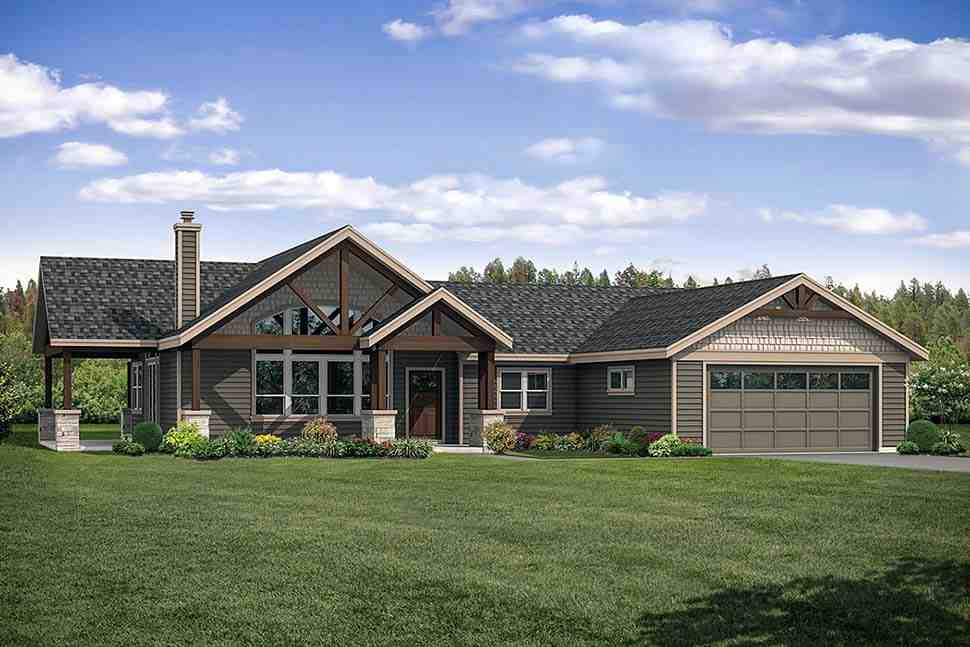 Craftsman, Ranch, Traditional House Plan 41320 with 3 Beds, 3 Baths, 2 Car Garage Elevation