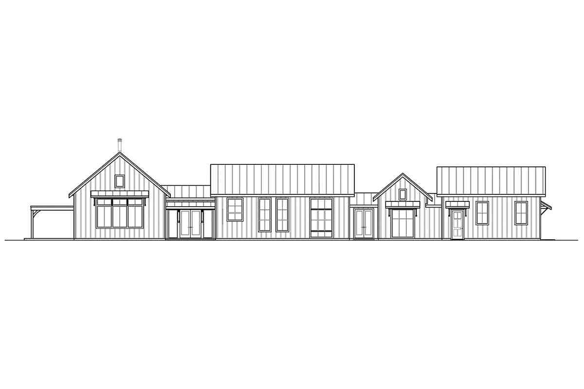 Country, Craftsman, Ranch, Traditional House Plan 41399 with 4 Beds, 2 Baths, 2 Car Garage Rear Elevation