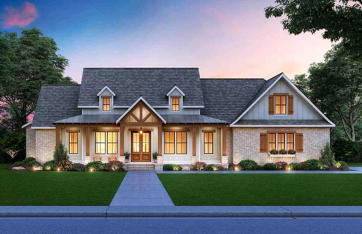 Cottage, Country, Craftsman, Farmhouse House Plan 41413 with 3 Beds, 3 Baths, 2 Car Garage Elevation