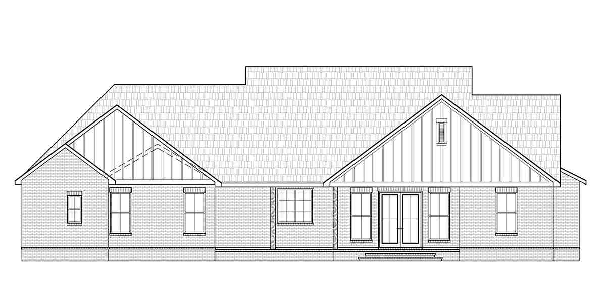 Cottage, Country, Craftsman, Farmhouse House Plan 41413 with 3 Beds, 3 Baths, 2 Car Garage Rear Elevation