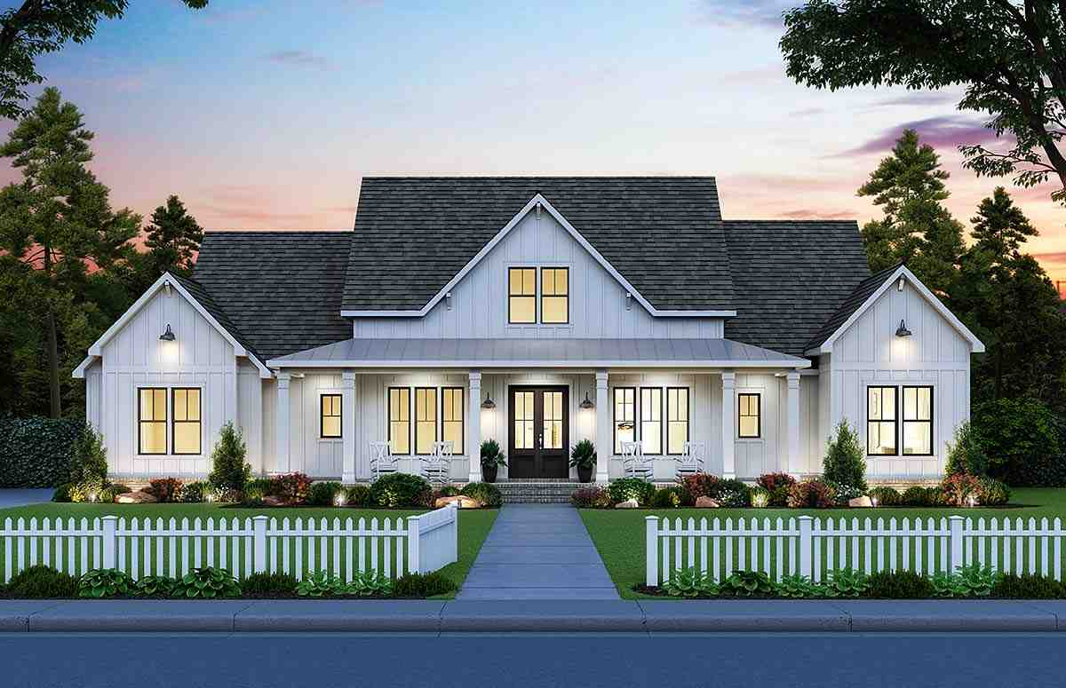 Country, Farmhouse House Plan 41418 with 4 Beds, 4 Baths, 3 Car Garage Elevation