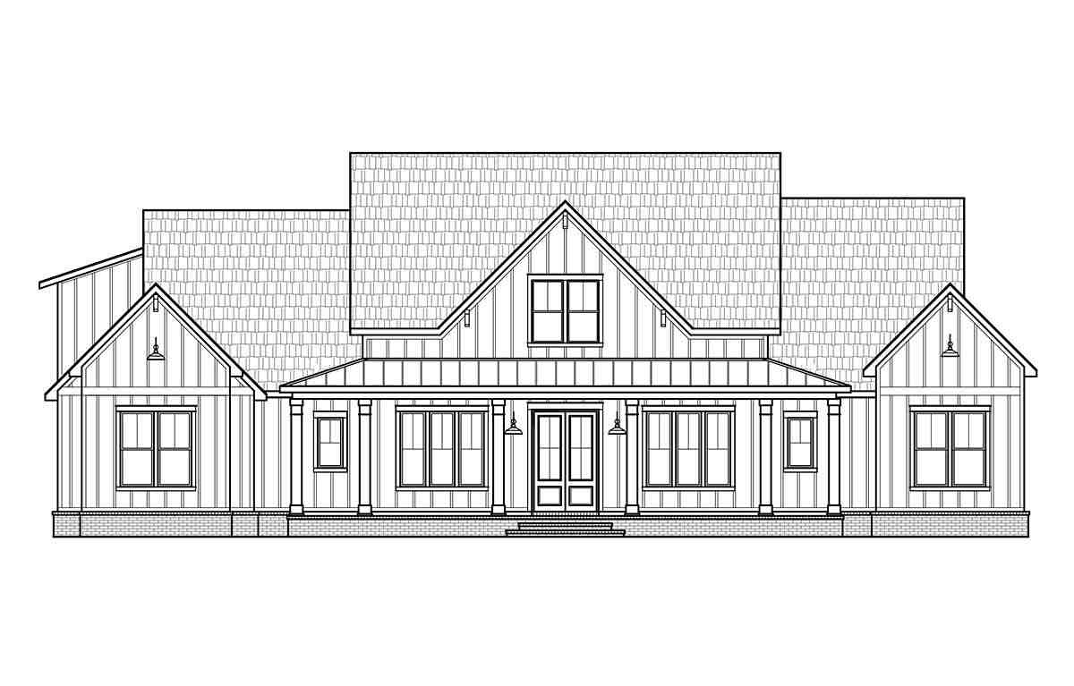 Country, Farmhouse House Plan 41418 with 4 Beds, 4 Baths, 3 Car Garage Picture 1
