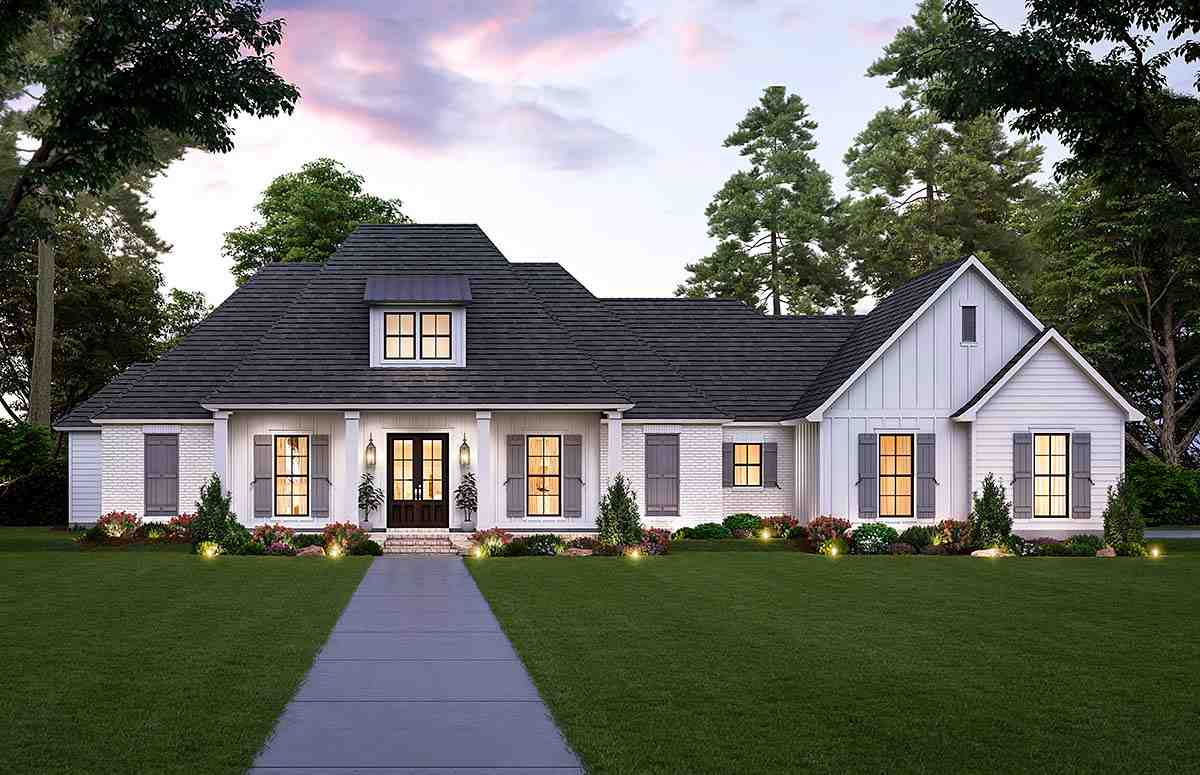 Farmhouse, French Country House Plan 41425 with 4 Beds, 3 Baths, 3 Car Garage Elevation