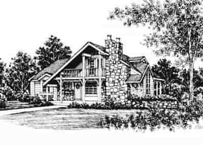 Cabin House Plan 43004 with 3 Beds, 2 Baths Elevation