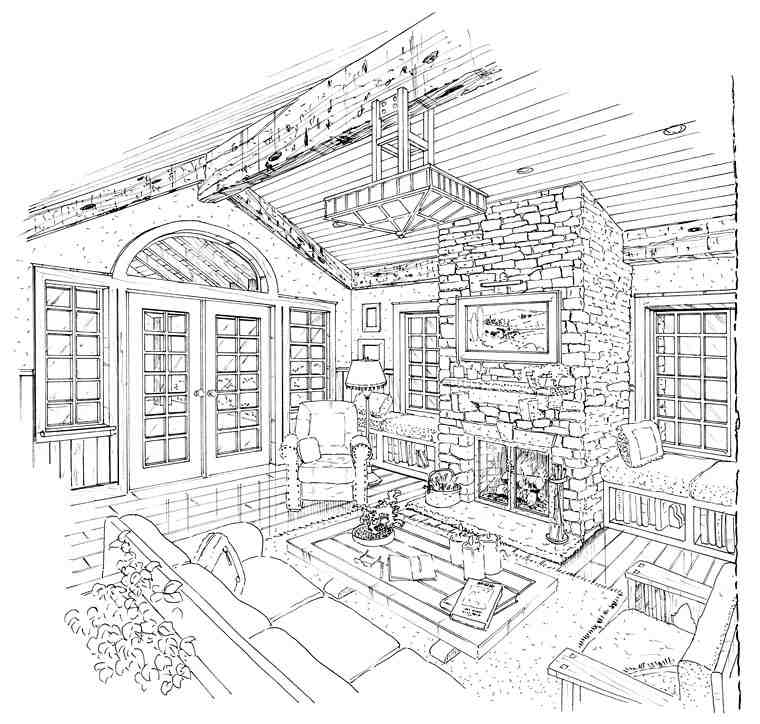 Craftsman, Ranch, Tudor House Plan 43200 with 3 Beds, 3 Baths, 2 Car Garage Picture 3