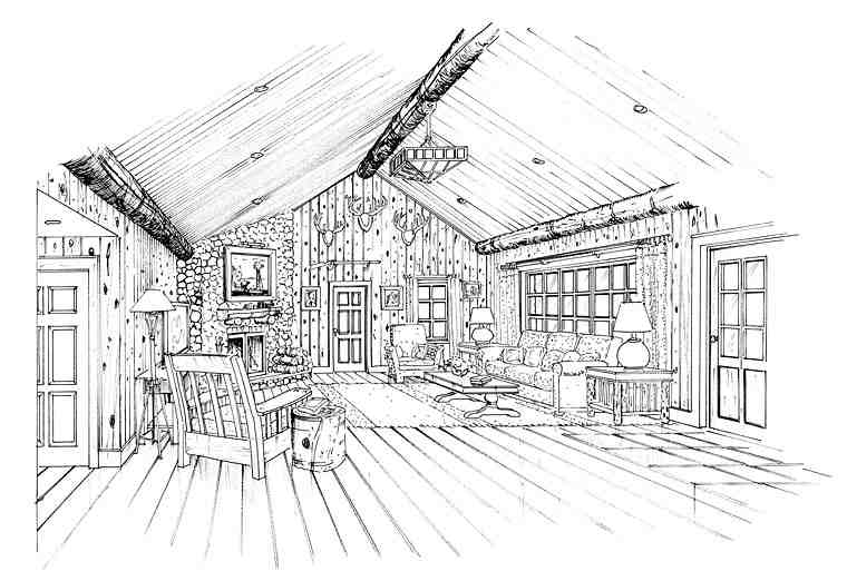 Cabin, Craftsman, Tudor House Plan 43202 with 3 Beds, 3 Baths, 1 Car Garage Picture 2