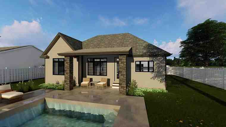 Cottage, European, Traditional House Plan 44184 with 3 Beds, 2 Baths, 2 Car Garage Rear Elevation