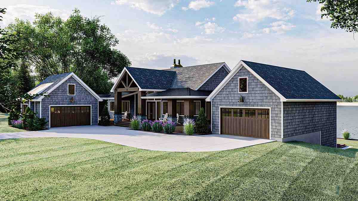 Bungalow, Cottage, Craftsman House Plan 44187 with 2 Beds, 3 Baths, 4 Car Garage Picture 1