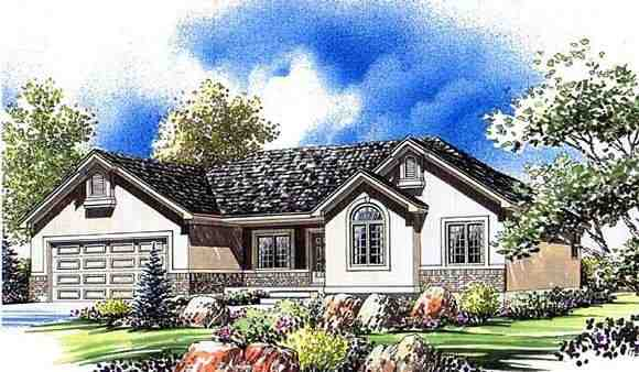 Ranch House Plan 44805 with 3 Beds, 3 Baths, 2 Car Garage Elevation