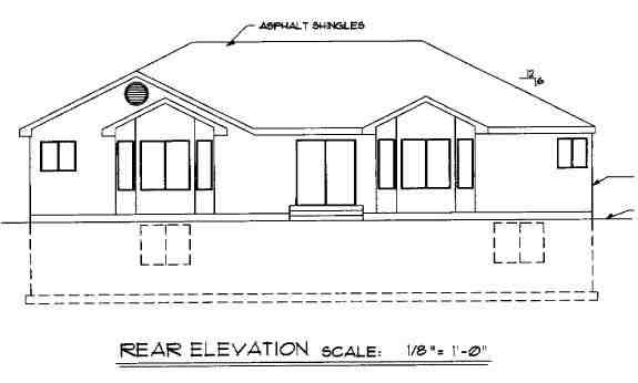 Ranch House Plan 44805 with 3 Beds, 3 Baths, 2 Car Garage Rear Elevation