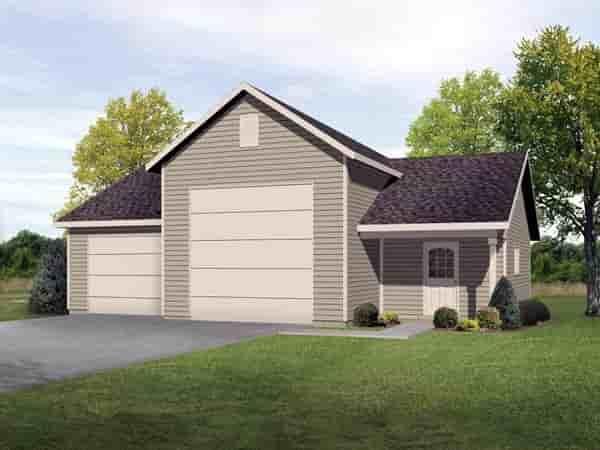 2 Car Garage Plan 45116, RV Storage Elevation