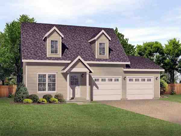 2 Car Garage Apartment Plan 45122 with 2 Beds, 2 Baths Elevation