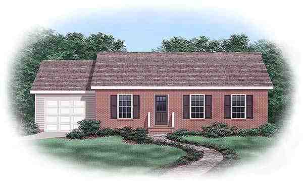 One-Story, Ranch House Plan 45373 with 3 Beds, 1 Baths, 1 Car Garage Elevation