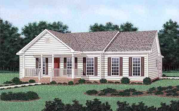 Ranch House Plan 45380 with 3 Beds, 2 Baths, 1 Car Garage Elevation