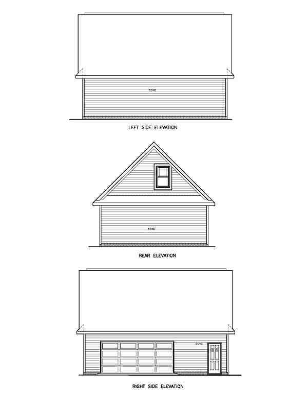 Traditional 2 Car Garage Apartment Plan 45512 with 1 Beds, 1 Baths Rear Elevation