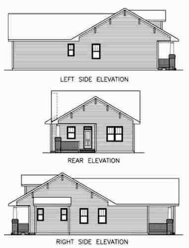 Bungalow, Craftsman House Plan 45516 with 3 Beds, 2 Baths Rear Elevation