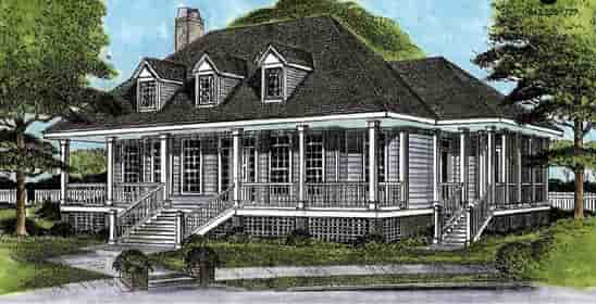 Country, Southern House Plan 45656 with 3 Beds, 3 Baths Elevation