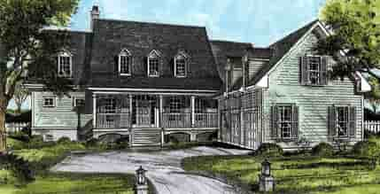 Cape Cod, Country House Plan 45662 with 3 Beds, 4 Baths, 2 Car Garage Elevation