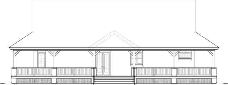 Country, Farmhouse, Ranch, Southern House Plan 46666 with 3 Beds, 2 Baths Rear Elevation