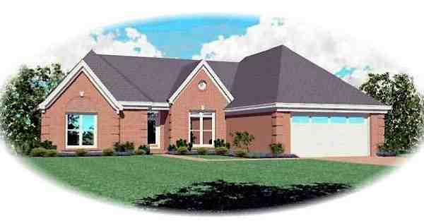 One-Story, Traditional House Plan 46720 with 3 Beds, 2 Baths, 2 Car Garage Elevation