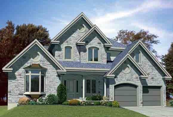 European House Plan 48117 with 3 Beds, 2 Baths, 2 Car Garage Elevation