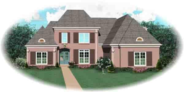 European House Plan 48515 with 4 Beds, 4 Baths, 3 Car Garage Elevation