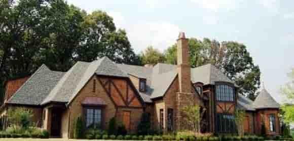 Country, European, Tudor House Plan 48760 with 4 Beds, 4 Baths, 3 Car Garage Elevation