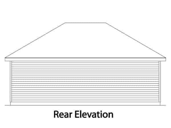European 2 Car Garage Plan 49042 Rear Elevation
