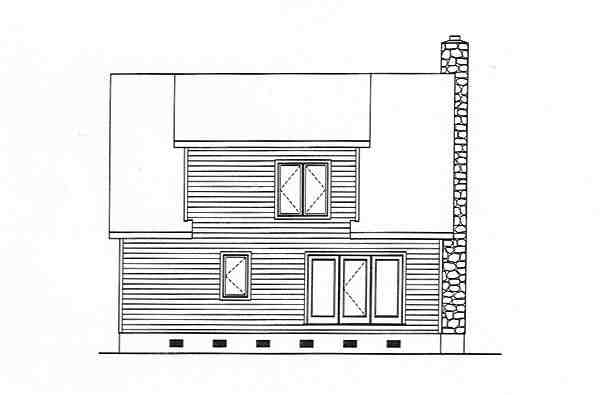 Cabin, Cape Cod, Country House Plan 49128 with 2 Beds, 3 Baths Rear Elevation