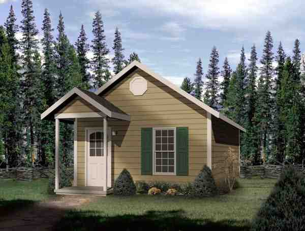 House Plan 49132 with 1 Beds, 1 Baths Elevation