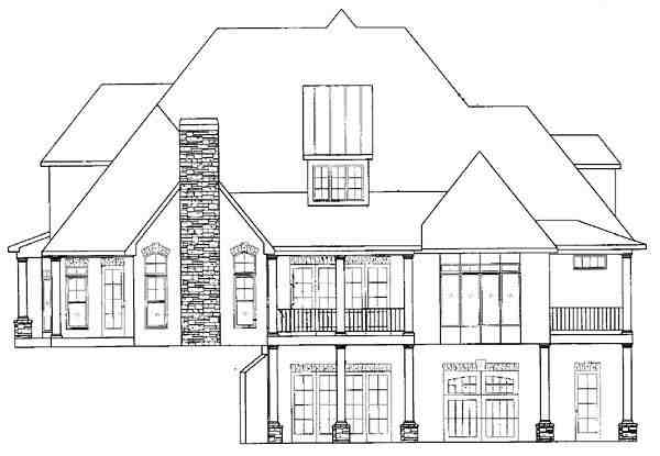 European, Traditional House Plan 50248 with 4 Beds, 5 Baths, 2 Car Garage Rear Elevation