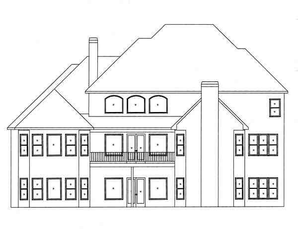 European House Plan 50250 with 4 Beds, 4 Baths, 3 Car Garage Rear Elevation