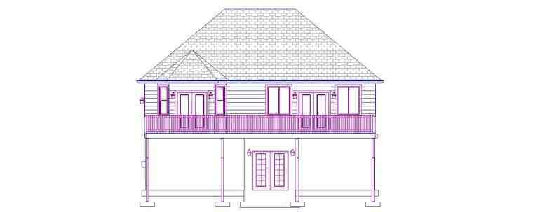 House Plan 50440 with 5 Beds, 3 Baths, 2 Car Garage Rear Elevation