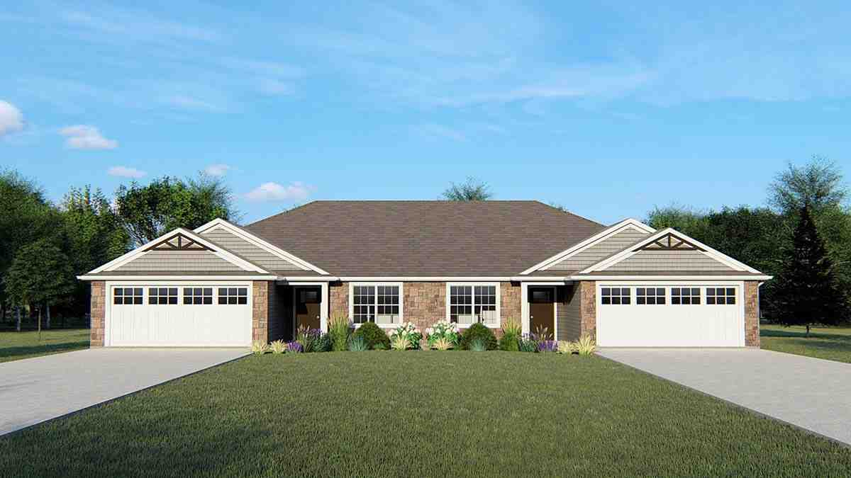 Ranch, Traditional Multi-Family Plan 50723 with 4 Beds, 4 Baths, 4 Car Garage Elevation