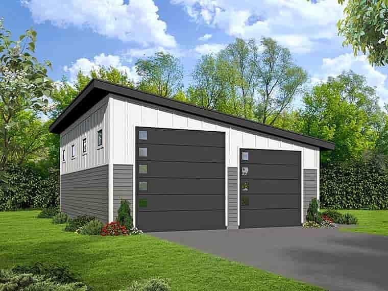 Modern 3 Car Garage Plan 51539, RV Storage Elevation