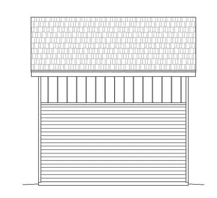 Contemporary, Modern 1 Car Garage Plan 51548 Rear Elevation