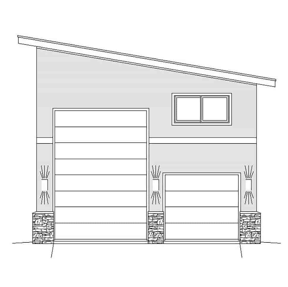 Contemporary, Modern 2 Car Garage Plan 51674, RV Storage Picture 3