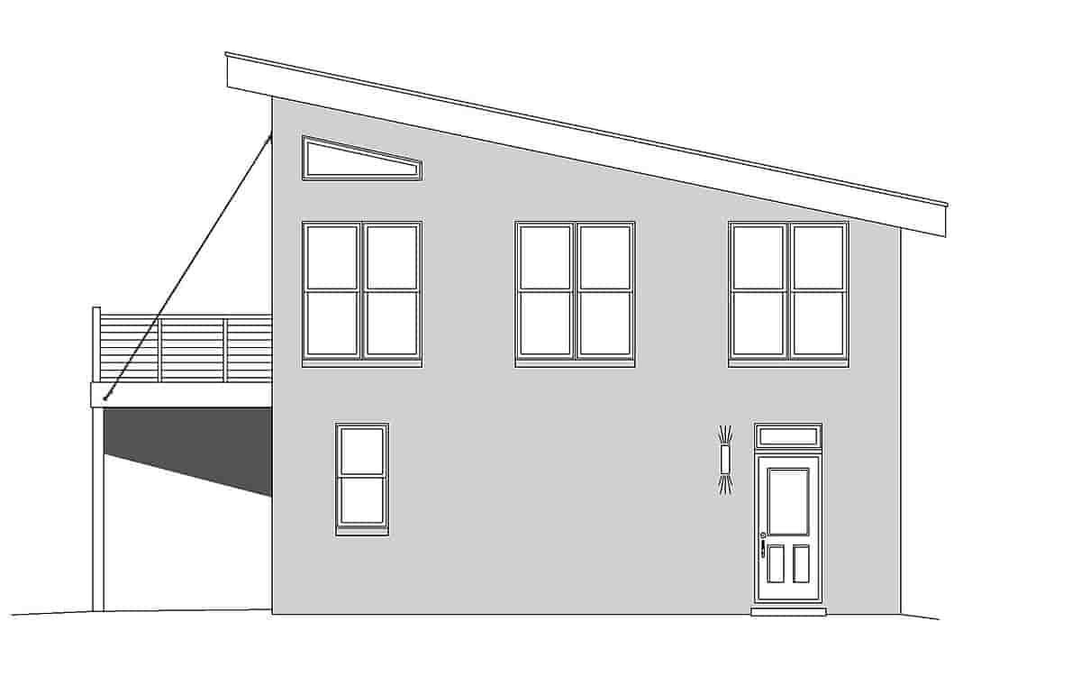 Coastal, Contemporary, Modern Garage-Living Plan 51680 with 1 Beds, 2 Baths, 2 Car Garage Picture 1