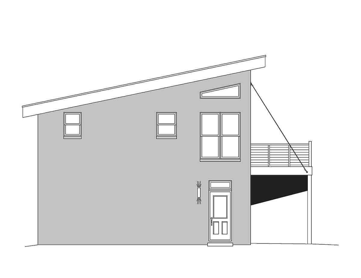 Coastal, Contemporary, Modern Garage-Living Plan 51680 with 1 Beds, 2 Baths, 2 Car Garage Picture 2