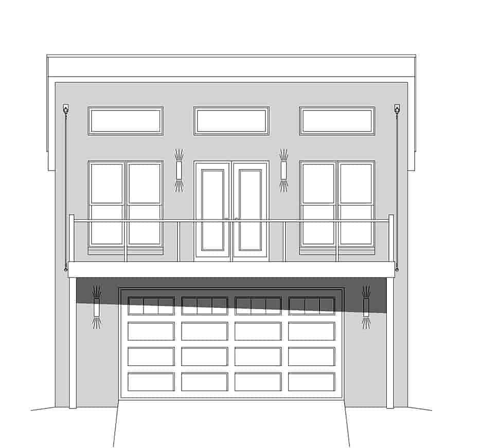 Coastal, Contemporary, Modern Garage-Living Plan 51680 with 1 Beds, 2 Baths, 2 Car Garage Picture 3