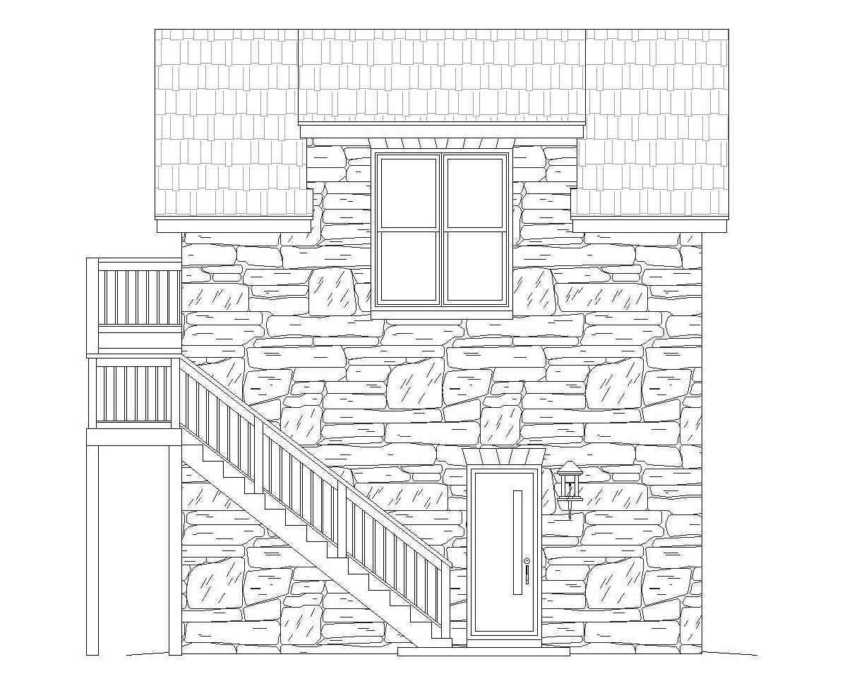 French Country, Traditional 1 Car Garage Plan 51691 Picture 2