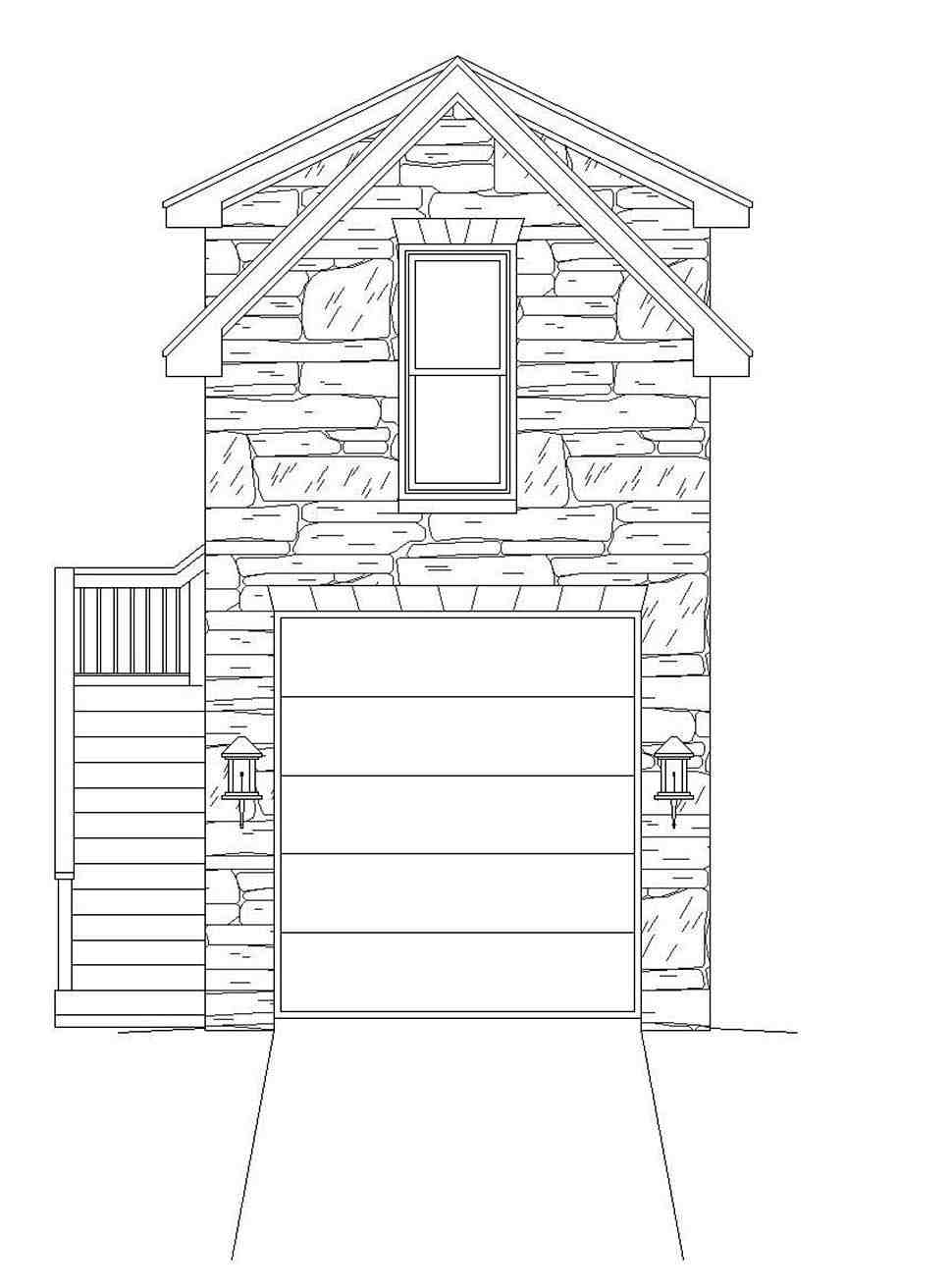 French Country, Traditional 1 Car Garage Plan 51691 Picture 3