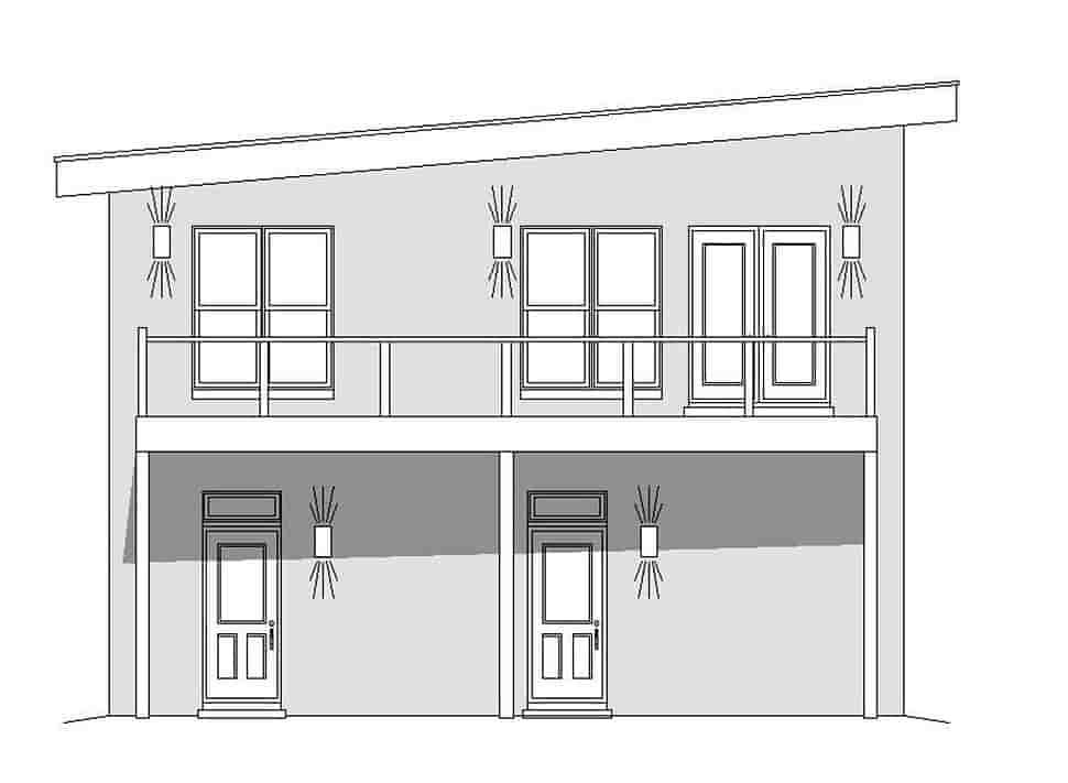 Coastal, Contemporary, Modern Garage-Living Plan 51695 with 1 Beds, 2 Baths, 3 Car Garage Picture 2