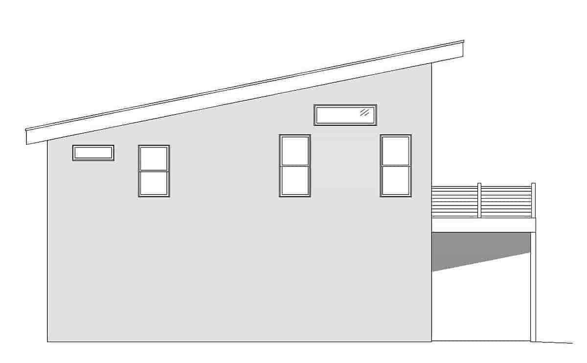 Coastal, Contemporary, Modern Garage-Living Plan 51698 with 1 Beds, 2 Baths, 2 Car Garage Picture 2