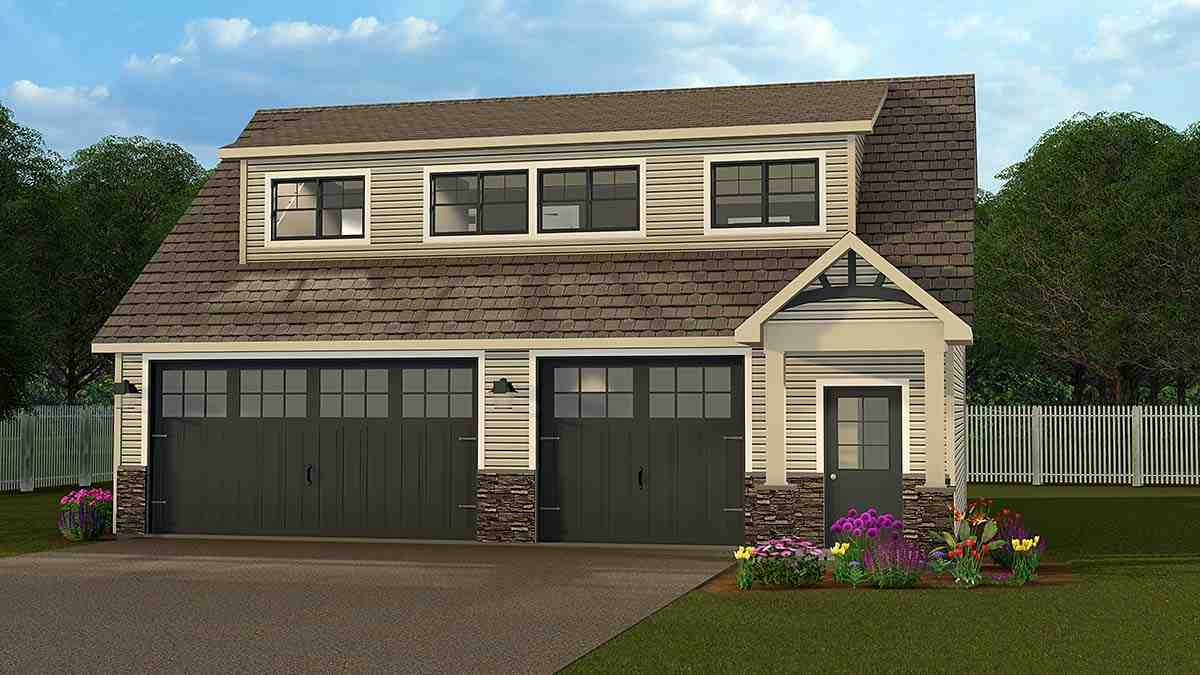 Bungalow, Country, Craftsman, Traditional 3 Car Garage Apartment Plan 51844 with 2 Beds, 1 Baths Elevation
